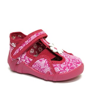 Rosie amaranth shoes with a flower