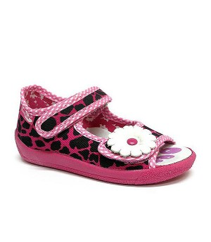 Amelia black and pink sandals with a flower