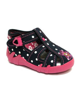 Jackie dark blue polka dots shoes with a flower
