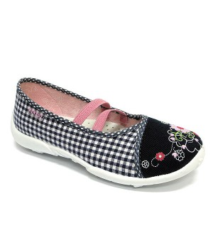 Dark blue checkered shoes with flowers
