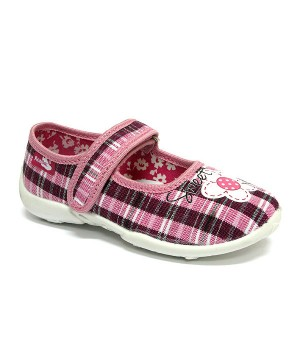 Jola checkered pink and white shoes with a flower