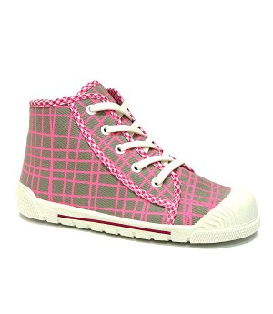 Jen grey and pink checkered high top sneakers