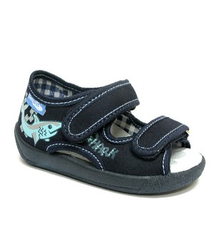 Andy dark blue sandals with a shark