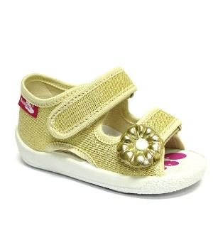 Gold glitter sandals with a flower
