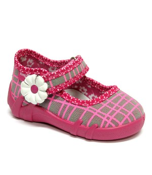 Cora checkered pink and grey shoes with a flower