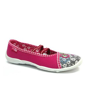 Zoe pink and grey shoes with white flowers
