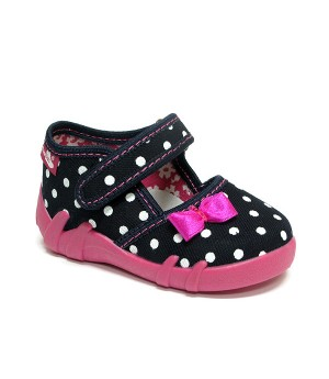 Liz dark blue polka dots shoes with a bow