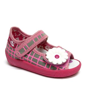 Annabelle checkered pink and grey sandals with a flower