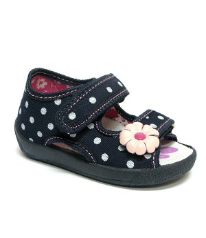 Arabella dark blue polka dots sandals with a flower