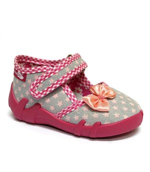 Gracie pink and grey shoes with a bow