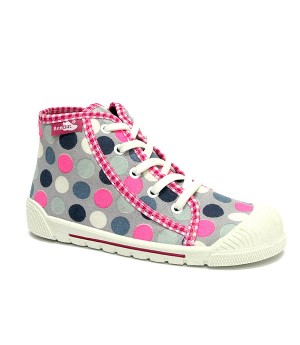 Emma pink polka dots high top sneakers