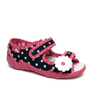 Daisy dark blue shoes with white polka dots and a flower