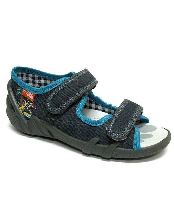 Dark grey and blue shoes with a pirate