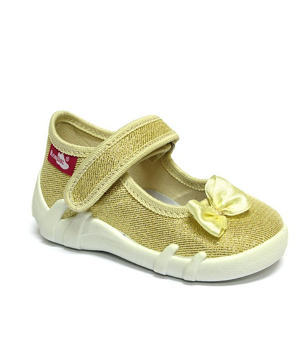 Gold shoes with a bow