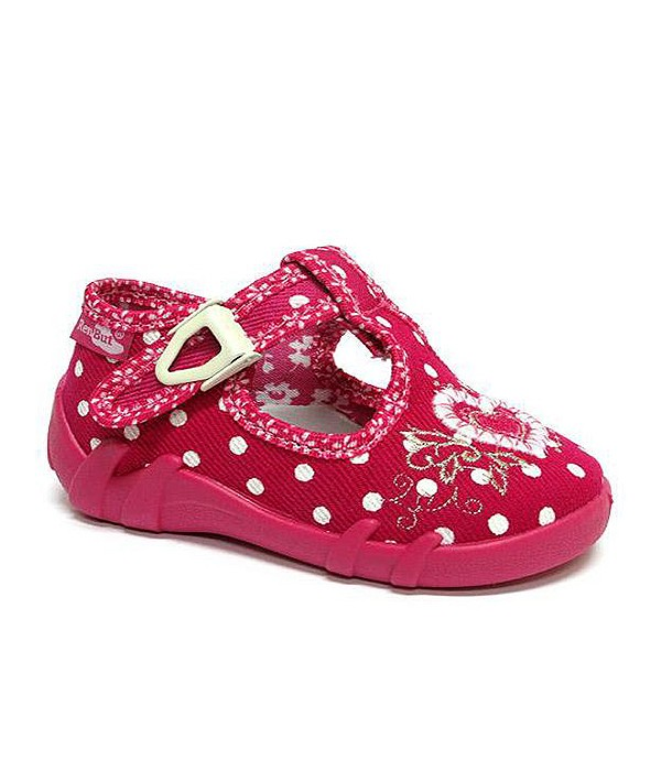 Amaranth polka dots shoes with a heart