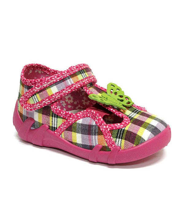 Checkered rainbow shoes with a butterfly